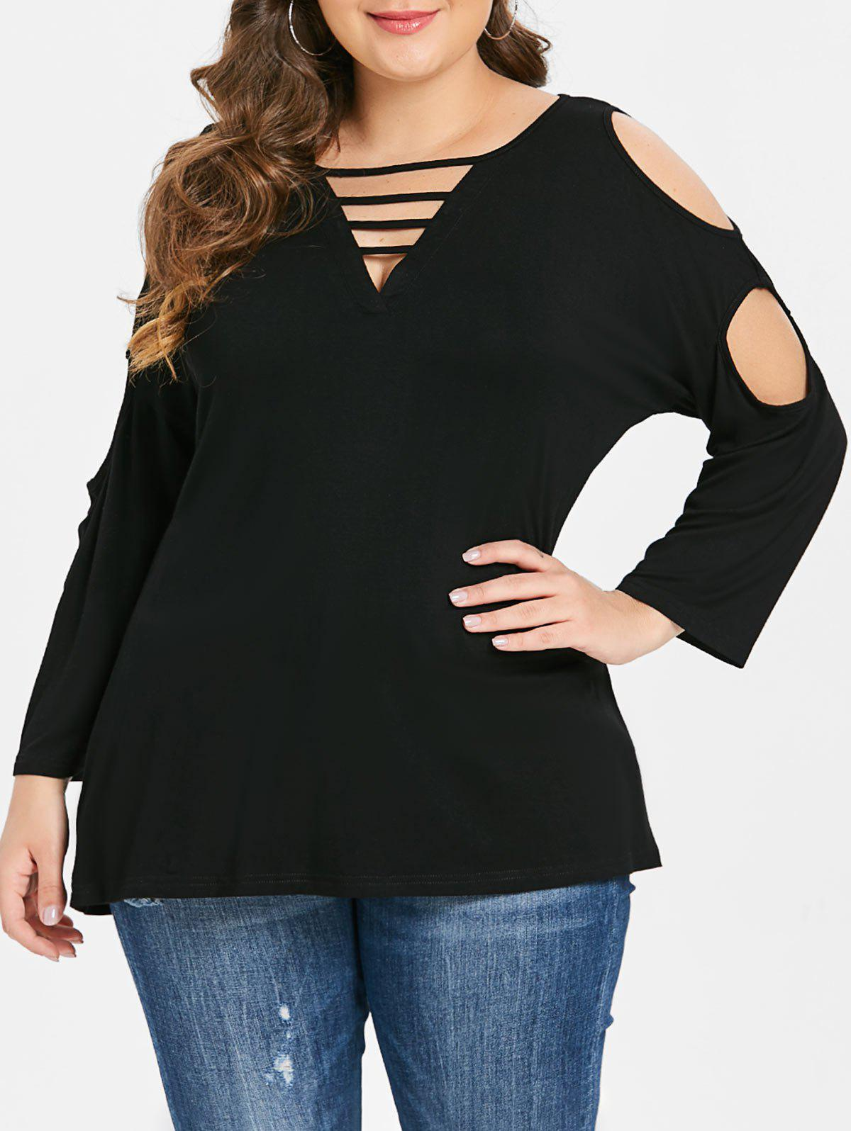 Cut Out Sleeve Plus Size V Neck T-shirt - BLACK 4X