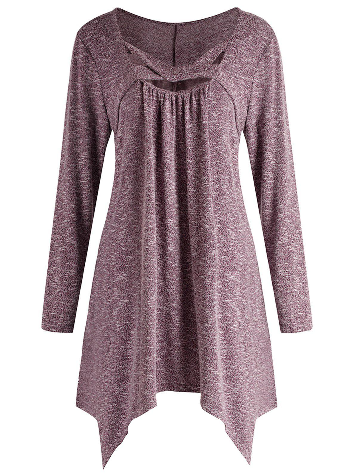 Plus Size U Neck Criss Cross Tee - DULL PURPLE L