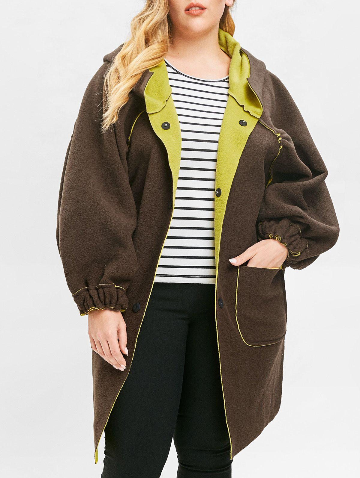 Plus Size Front Pockets Button Detail Coat