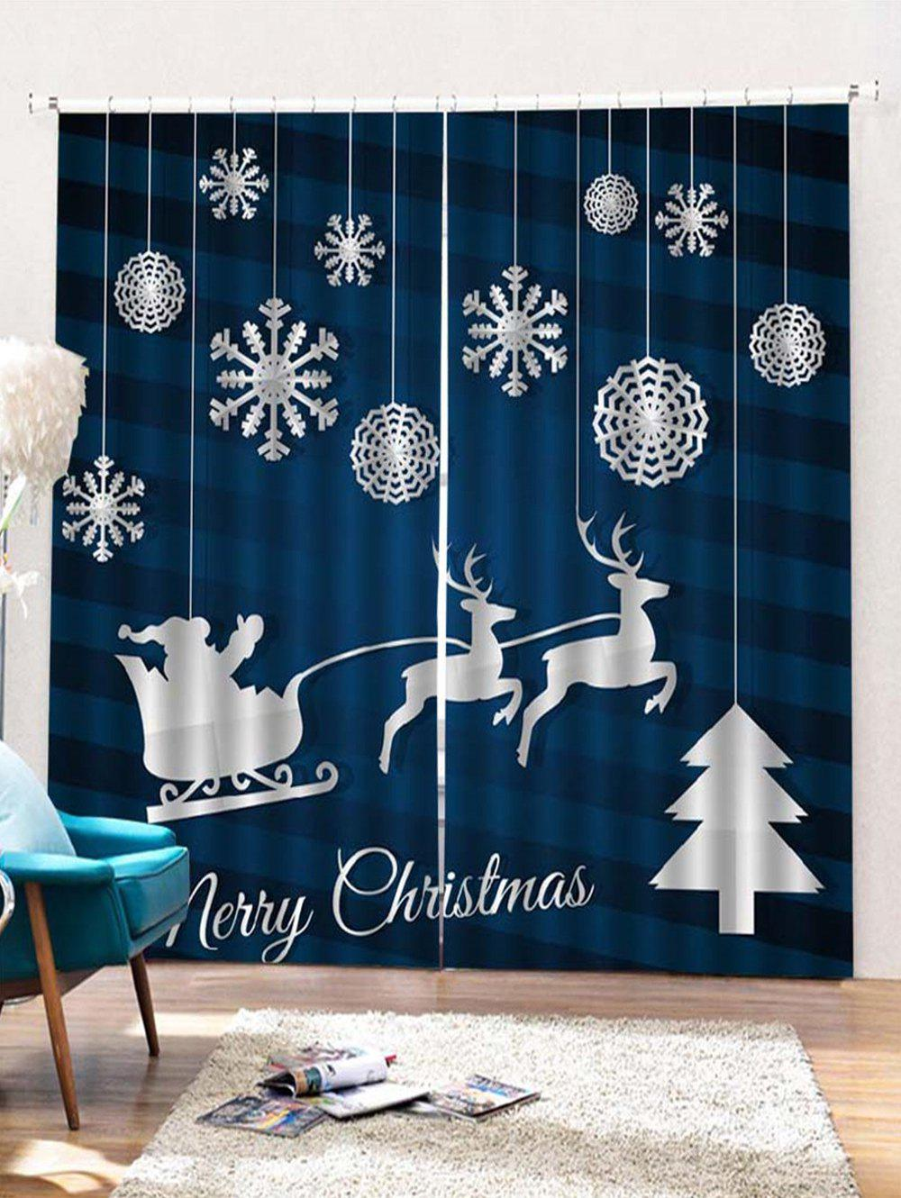 2PCS Merry Christmas Snowflake Deer Pattern Window Curtains - PEACOCK BLUE W28 X L39 INCH X 2PCS