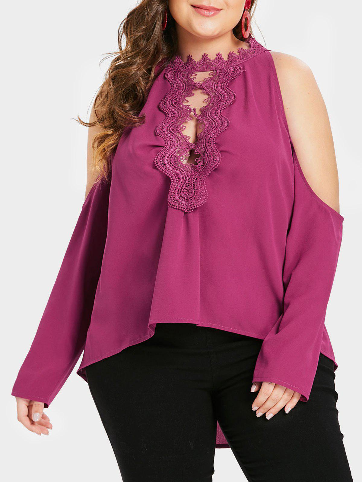Plus Size High Low Cutout Lace Panel Blouse - ROSE RED L