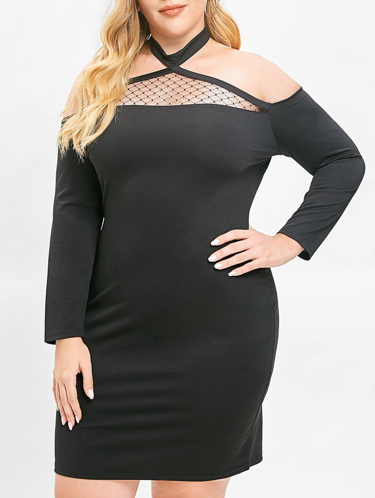 Plus Size Lace Panel Halter Bodycon Dress - BLACK L