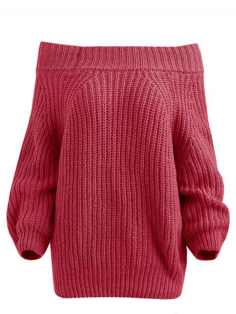 Raglan Sleeve Bare Shoulder Sweater - ROSE RED 2XL