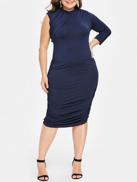 Stylish Stand-Up Collar 3/4 Sleeve Ruched Women's Plus Size Dress - SAPPHIRE BLUE XL