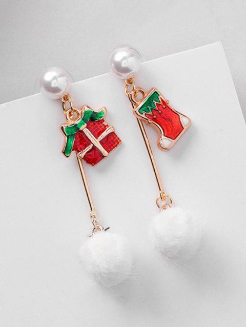 Christmas Asymmetric Sock and Fluffy Ball Earrings - RED
