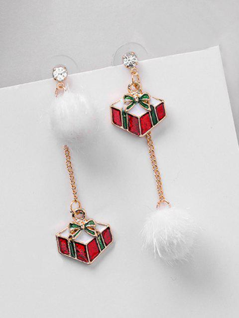 Asymmetric Christmas Gift and Fluffy Ball Earrings - RED