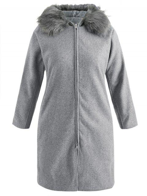 Plus Size Side Pockets Hooded Coat - GRAY 2X