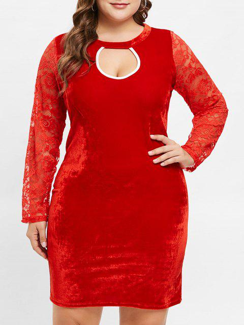 Plus Size Cutout Velvet Bodycon Dress with Lace - RED 2X