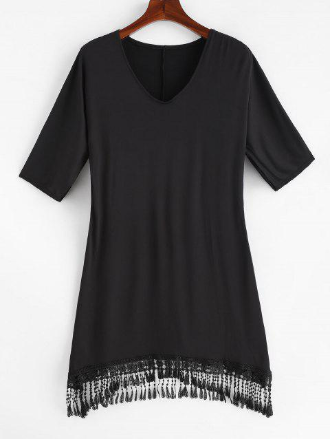 Short Sleeve Fringed Plus Size Cover Up - BLACK 3X