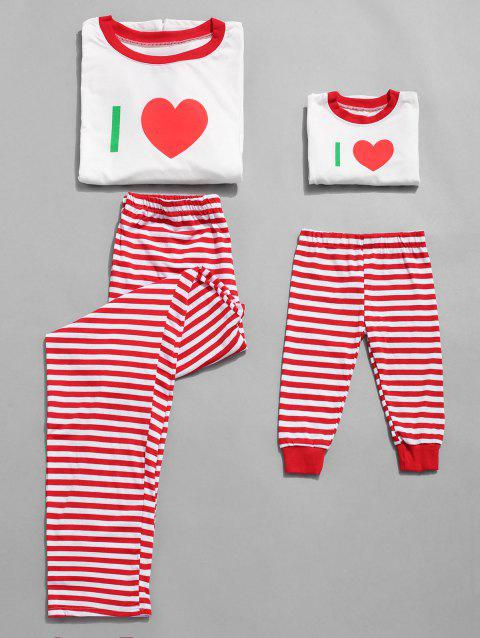 Plus Size Christmas Striped Print Pajama Set for Mom Kids - RED KID 6T