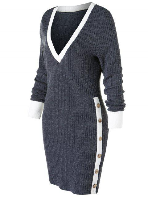 Plunge Contrast Knitted Bodycon Dress - SMOKEY GRAY M