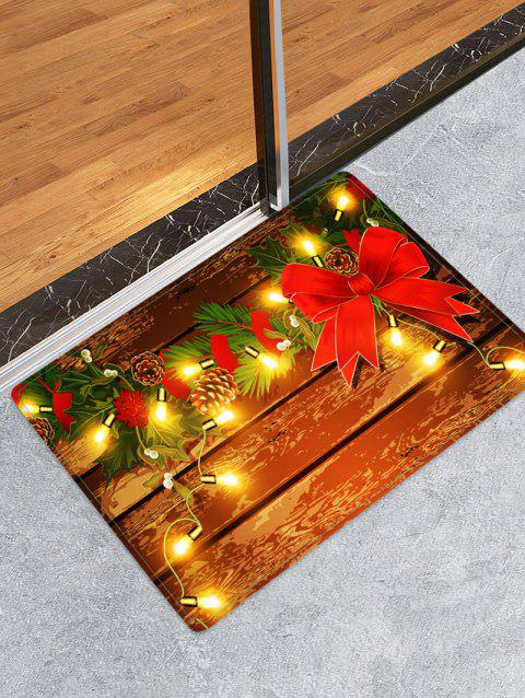 Christmas Light Wooden Printed Floor Mat - RED W16 X L24 INCH