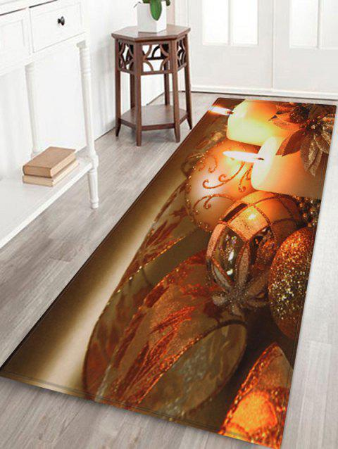 Christmas Candle Printed Floor Mat - BROWN BEAR W16 X L47 INCH