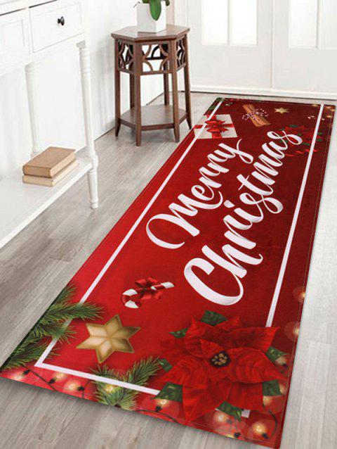 Merry Christmas Gift Printed Floor Mat - RED W16 X L47 INCH