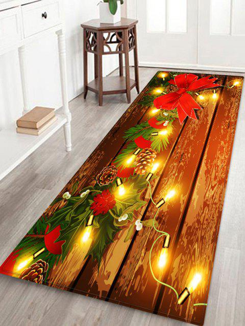 Christmas Light Wooden Printed Floor Mat - RED W24 X L71 INCH