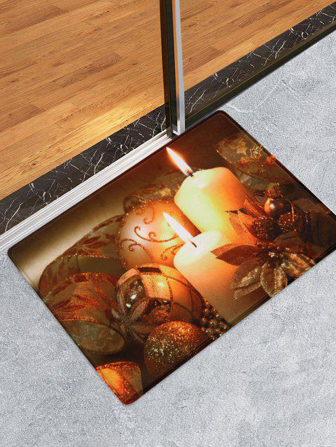 Christmas Candle Printed Floor Mat - BROWN BEAR W16 X L24 INCH