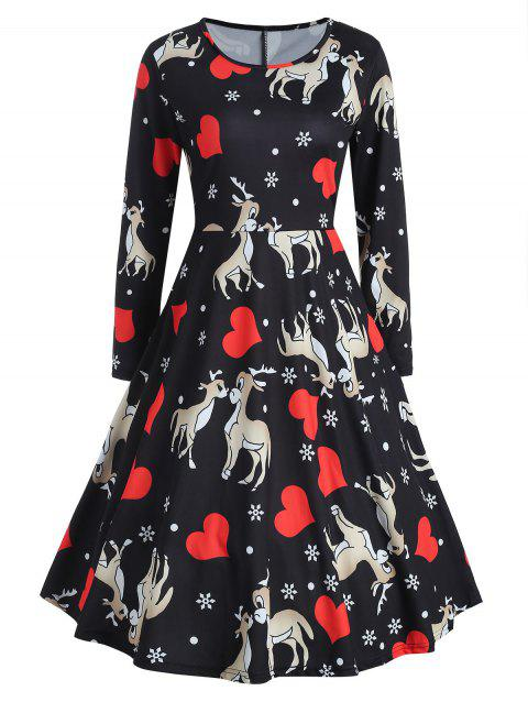5434c52d68f1 17% OFF] 2019 Christmas Deer Print Fit And Flare Dress In BLACK ...