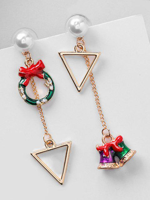Asymmetric Christmas Bell and Artificial Pearl Earrings - RED