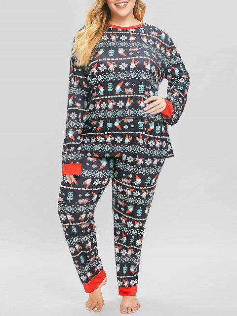 Plus Size Christmas Pajamas.Plus Size Christmas Santa Print Pajamas