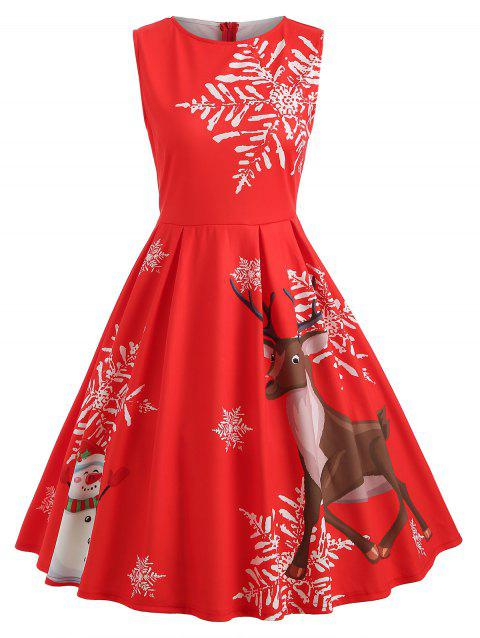 Christmas Print Sleeveless Fit and Flare Dress - RED S