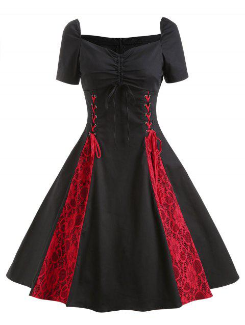 Retro Lace Up Ruched Flare Dress - BLACK L