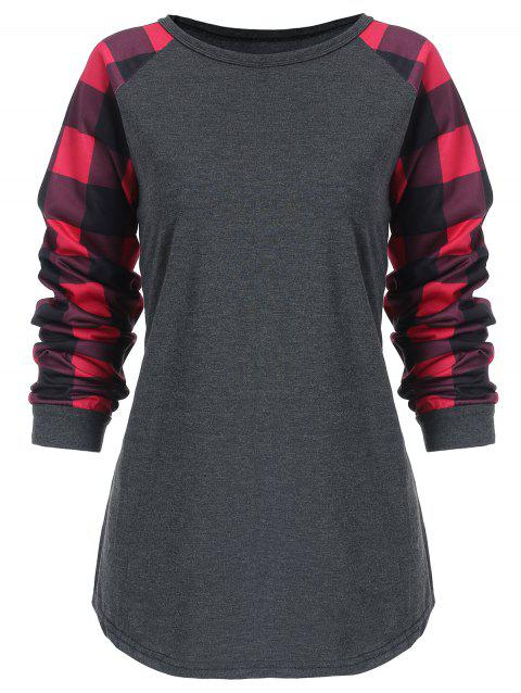 Plus Size Checked Panel Round Neck Top - DARK GRAY 2X
