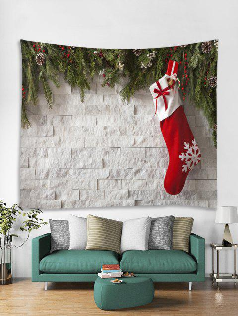 Christmas Sock Print Tapestry Wall Hanging Decoration - multicolor W59 X L51 INCH