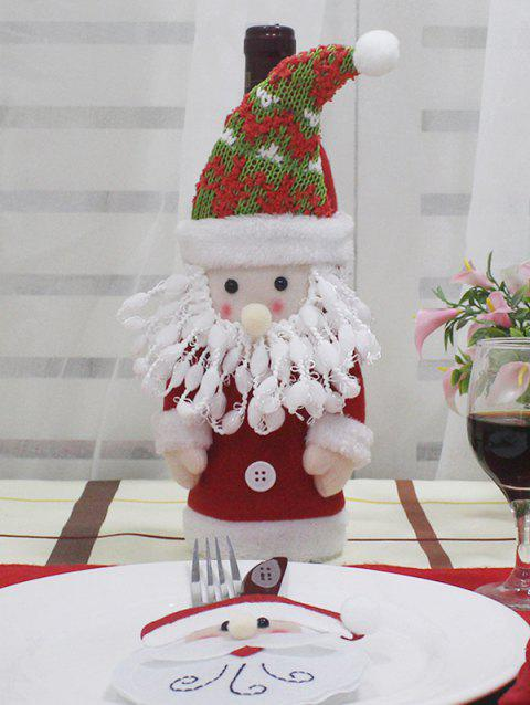 Christmas Theme Pattern Wine Bottle Cover - RED