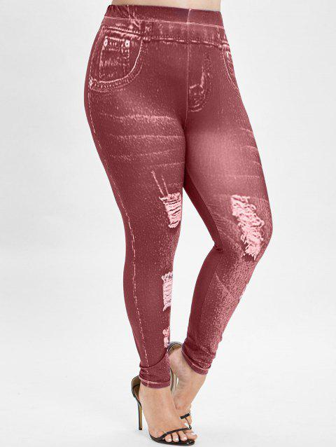 21b6e896231 LIMITED OFFER  2019 Plus Size 3D Graphic Leggings In RED 1X ...