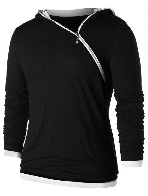 Asymmetric Zip Contrast Color Hoodie - BLACK M