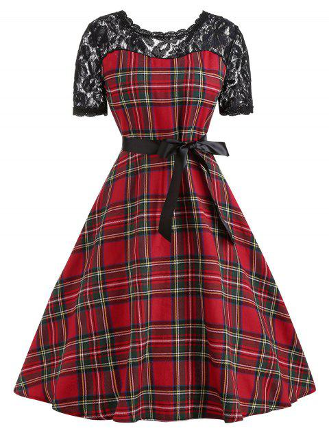 Vintage Lace Panel Plaid Fit and Flare Dress - RED L