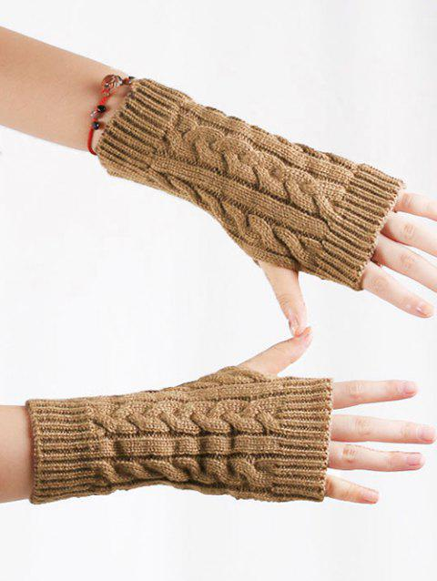Vintage Fingerless Knitted Gloves - DARK GOLDENROD