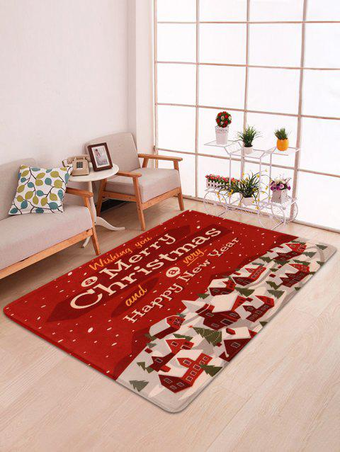 Merry Christmas House Printed Floor Mat - RED W47 X L63 INCH
