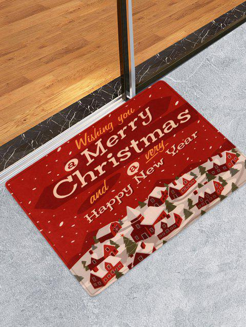 Merry Christmas House Printed Floor Mat - RED W16 X L24 INCH