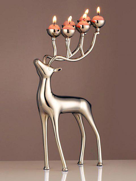 Christmas Elk Shape Candle Holder with Candles - SILVER