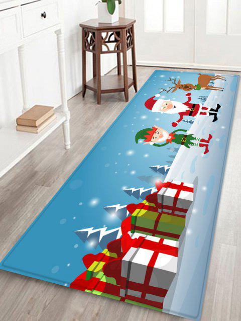 Father Christmas Gift Deer Printed Floor Mat - LIGHT SKY BLUE W16 X L47 INCH