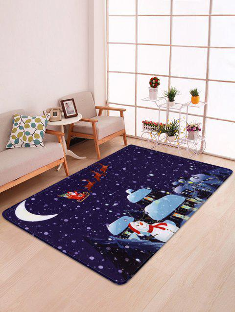 Father Christmas Snowman Printed Floor Mat - DEEP BLUE W47 X L63 INCH