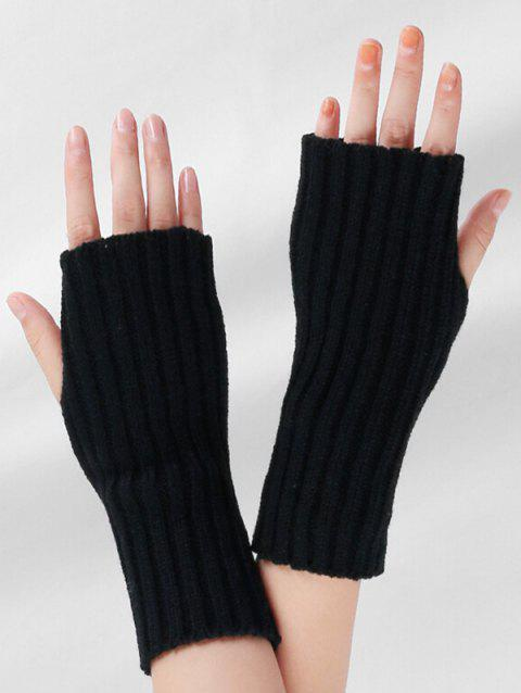 Striped Pattern Knitted Fingerless Gloves - BLACK