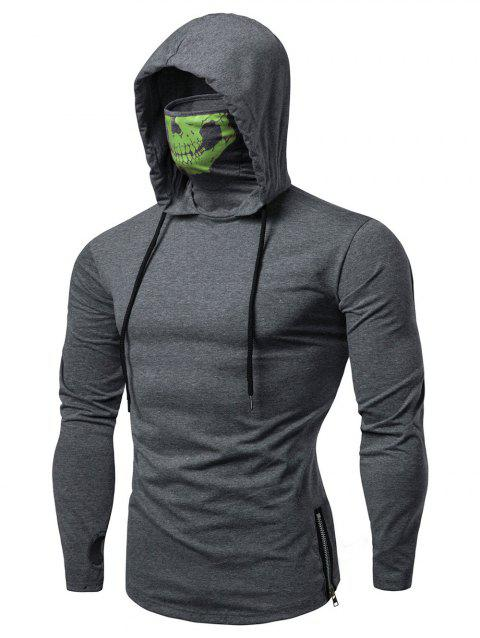Fashion Drawstring Scare Mask Hoodie for Man - CLOVER GREEN S