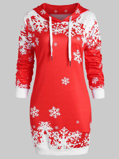 Plus Size Pullover Christmas Snowflake Longline Hoodie - RED L