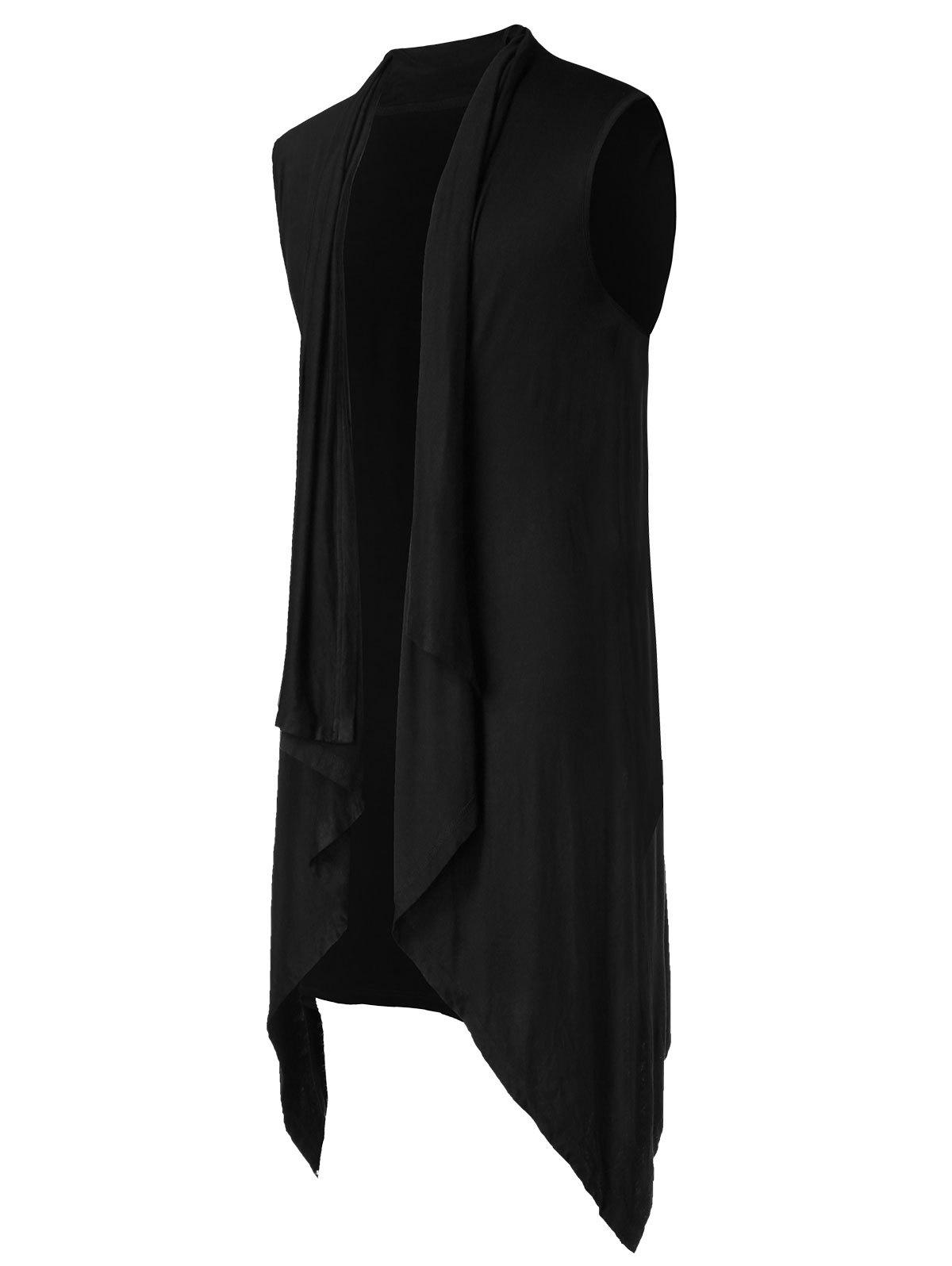 Asymmetric Open Front Sleeveless Coat - BLACK L