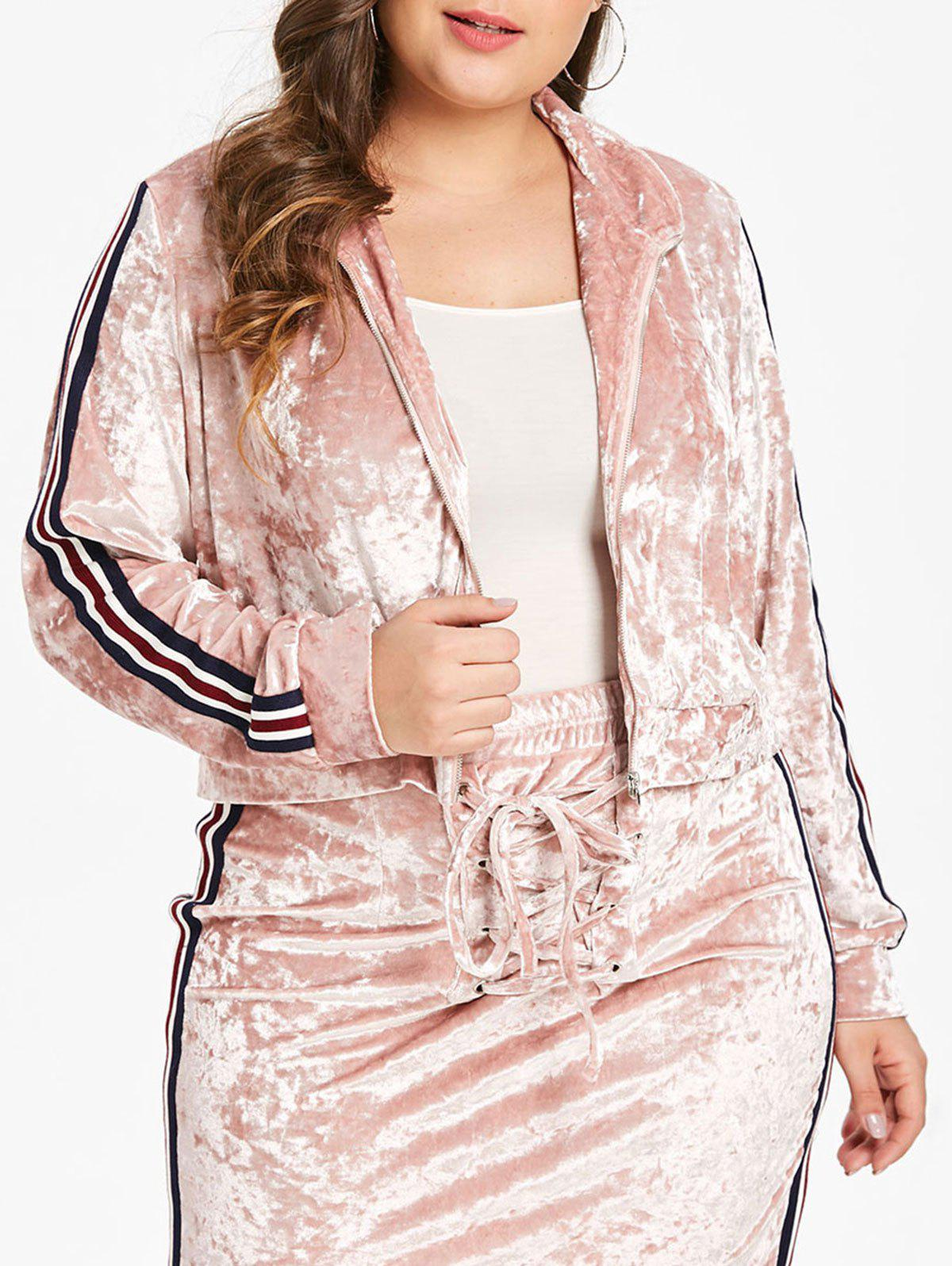 Plus Size Zipper Fly Velvet Short Jacket - PINK L