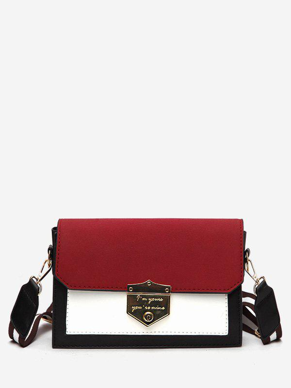 Layered Striped Shoulder Strap Design Crossbody Bag - RED WINE