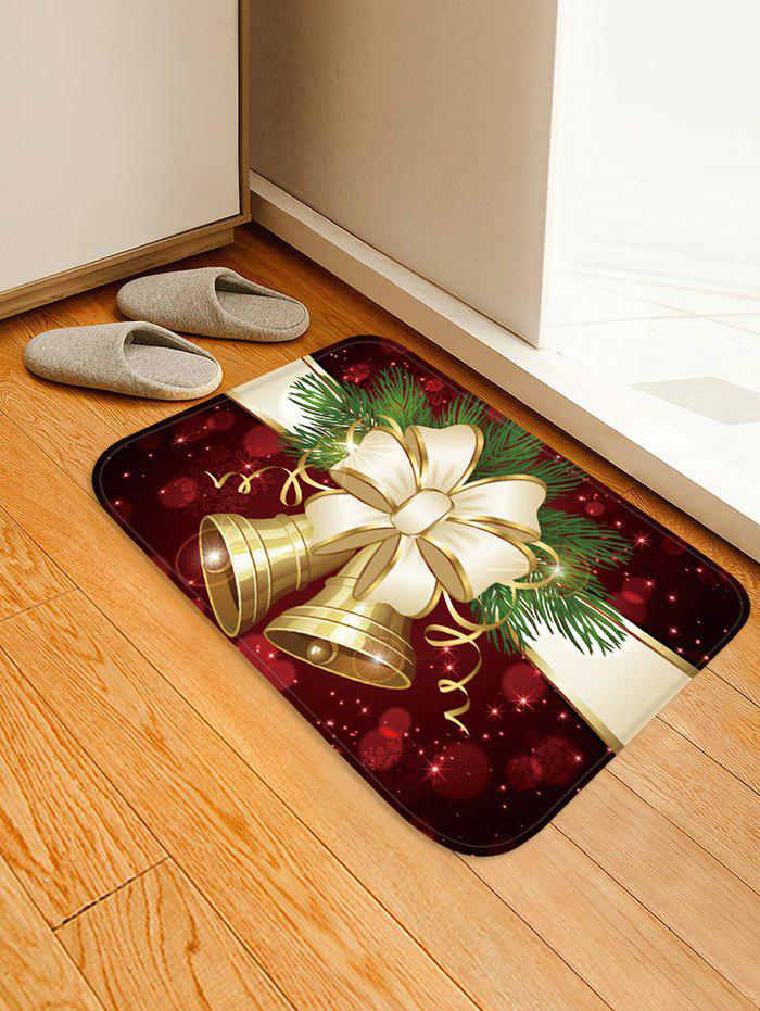 Christmas Bowknot Bells Pattern Water Absorption Area Rug - multicolor W20 X L31.5 INCH