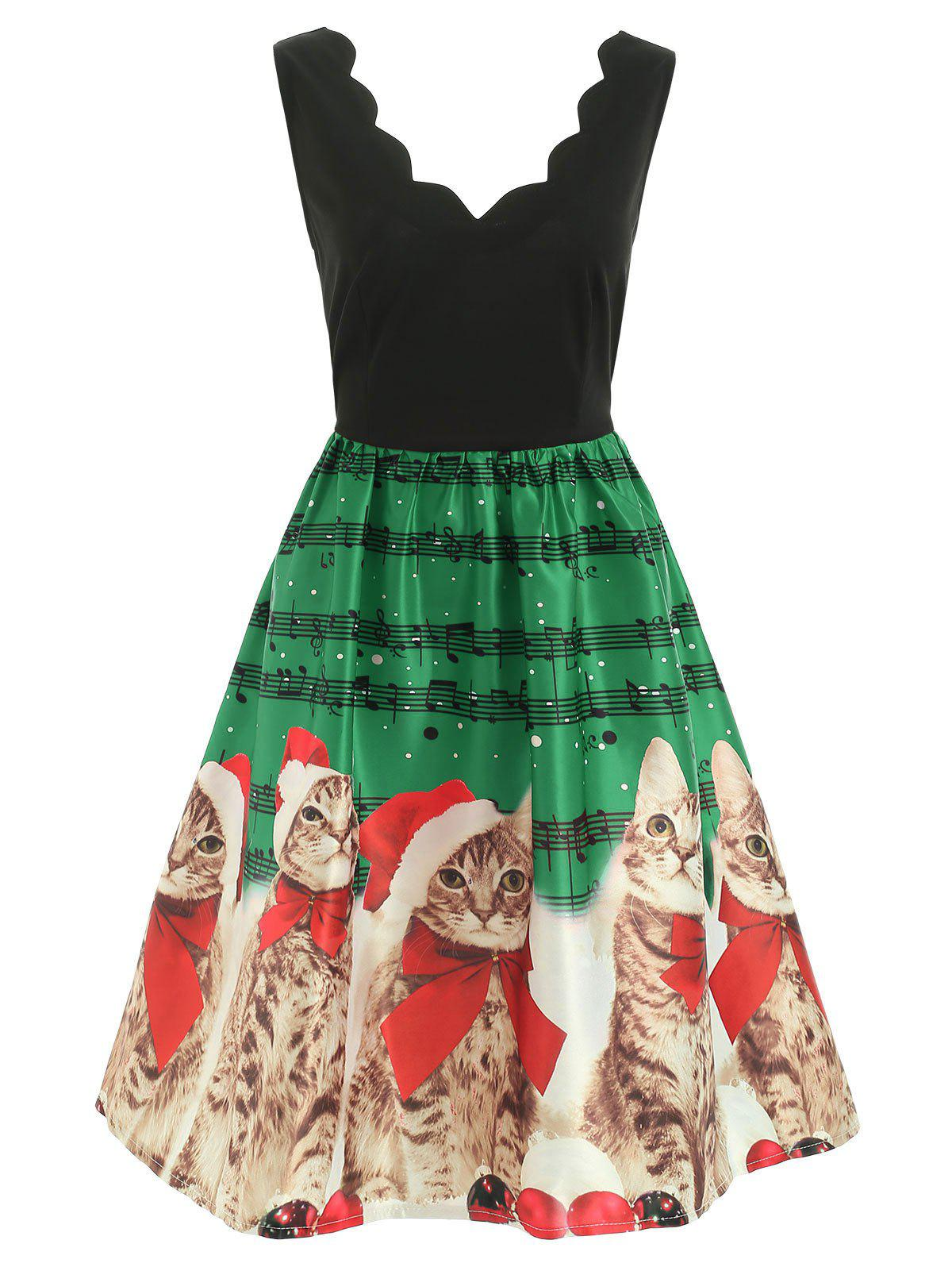 Christmas Cats Musical Notes Print Sleeveless Dress - DEEP GREEN 2XL