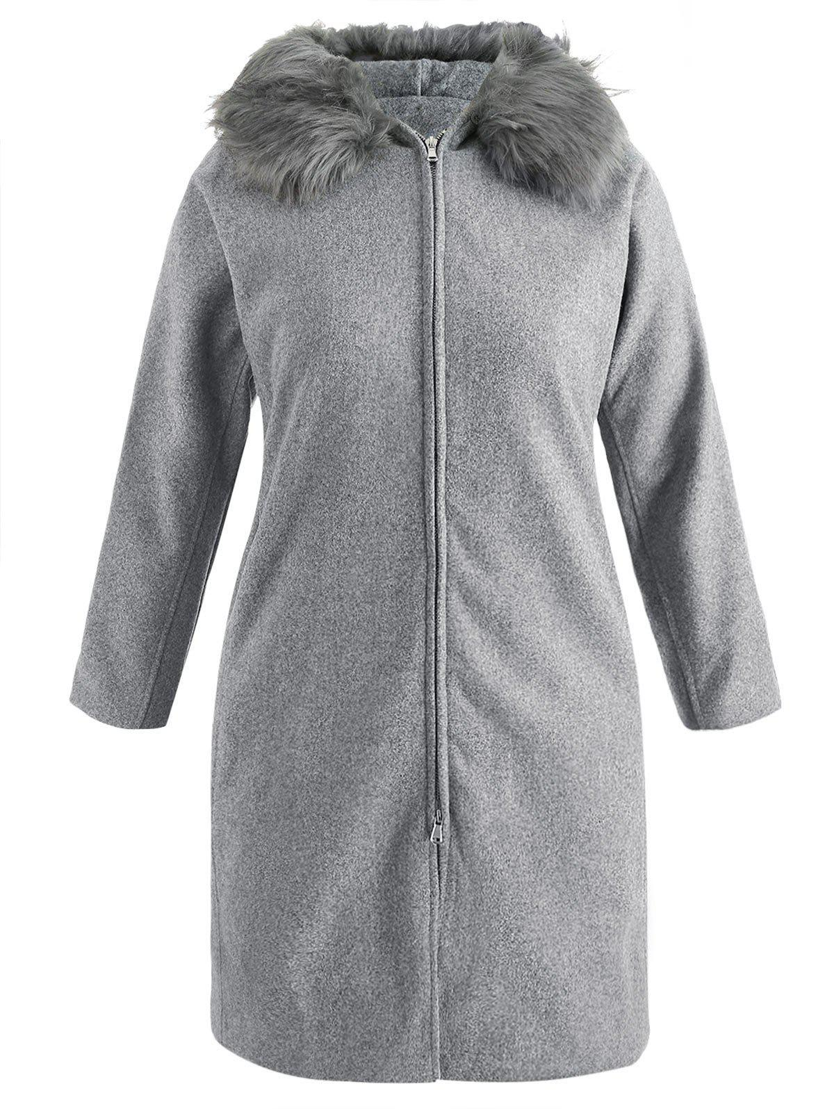 Plus Size Side Pockets Hooded Coat