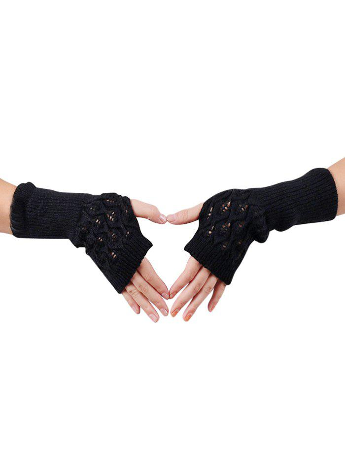 Winter Hollow Out Knitted Gloves - BLACK