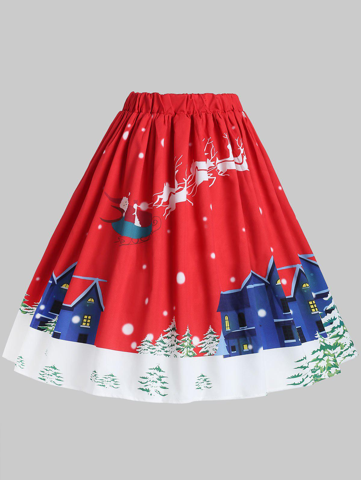 Plus Size Christmas Santa Claus High Waisted Skirt - RED 3X