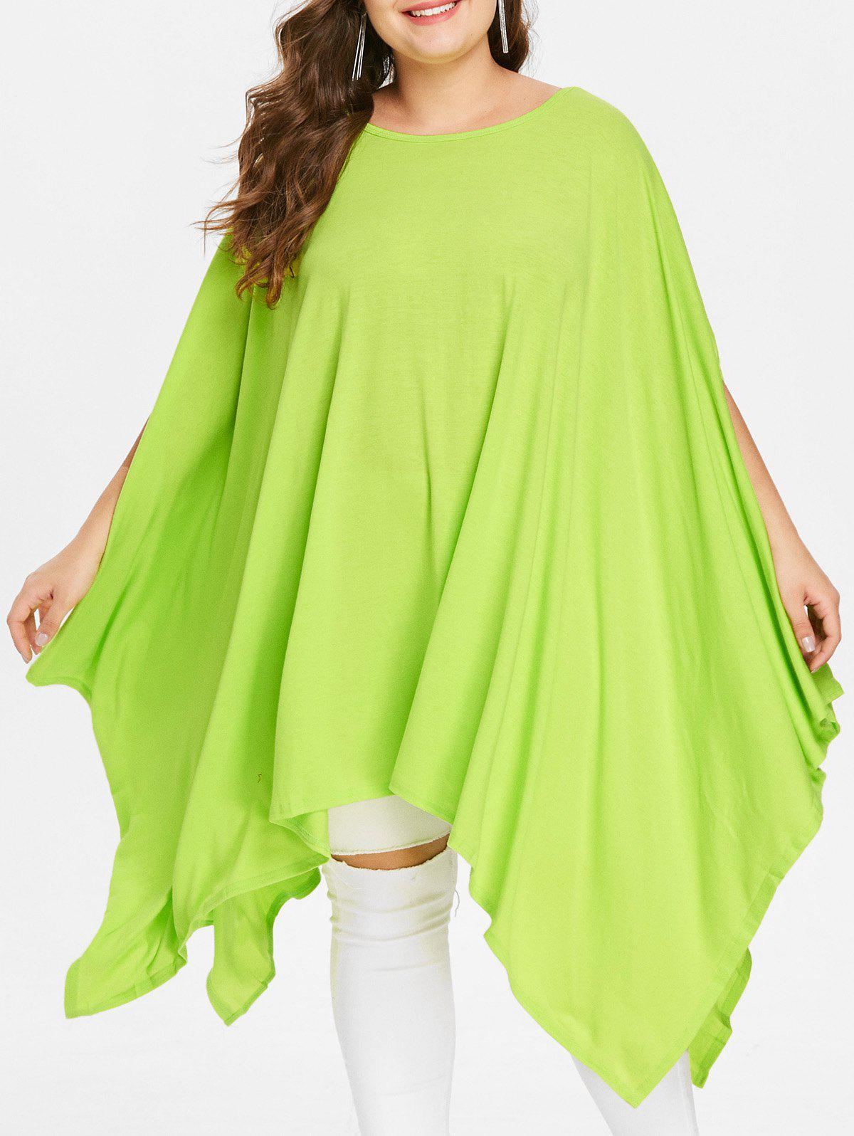 Handkerchief Plus Size Caped Top with Batwing Sleeve - GREEN S
