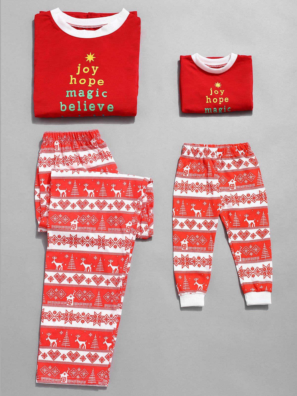 Plus Size Christmas Letter Print Family Pajamas - RED MOM 3X
